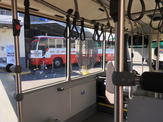 UBE Expressバス停車中。ビクトリライナーのバス車庫付近