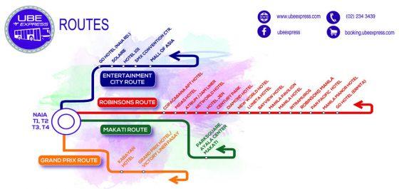 UBE Express マニラ空港からの路線図