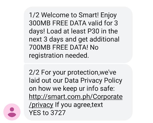 フィリピン Smart(スマート) プリペイドSIMカードの使い方(アクティベート、アクティベーション完了で受診するSMS)