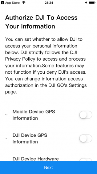 DJI GO 必要な機能へのアクセス