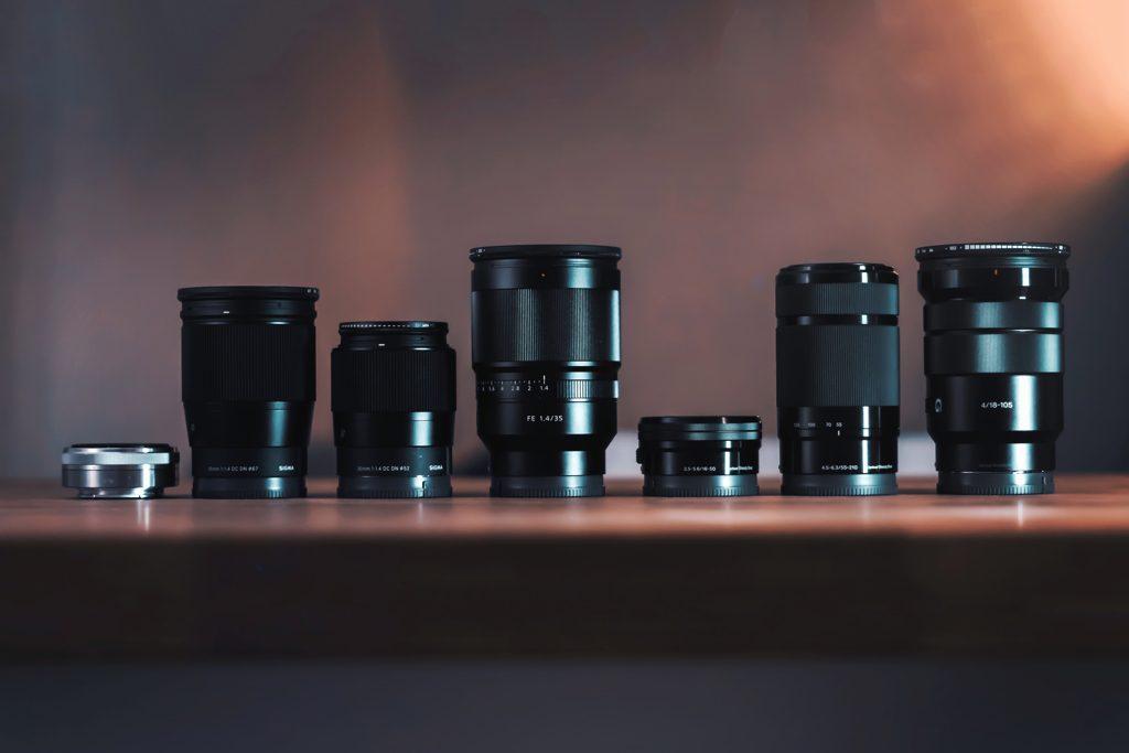 カメラレンズがたくさん