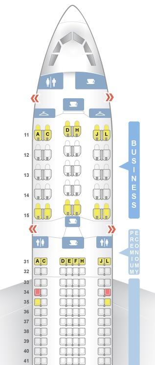 エアチャイナA330-300の機内シート配置