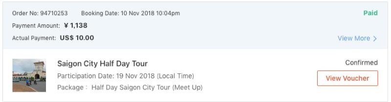 Klookのサイゴン半日ツアーの予約内容(料金込み)