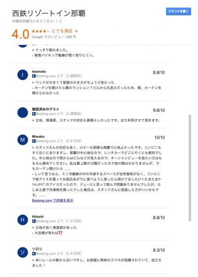 西鉄リゾートイン那覇の口コミ・評判