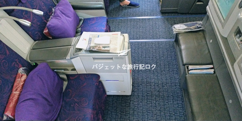 中国国際航空(エアチャイナ)CA181便 自分の座席を上からパシャり