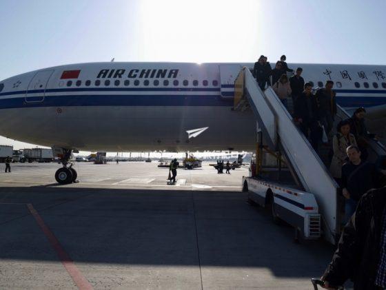 CA184便 北京首都国際空港での沖留め
