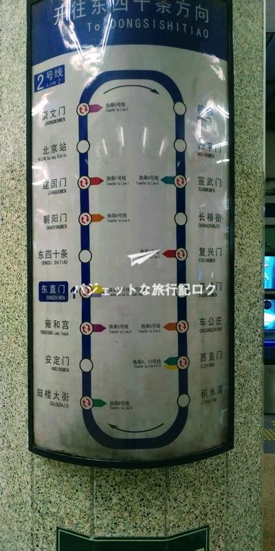 北京市内の地下鉄 路線図(2号線)