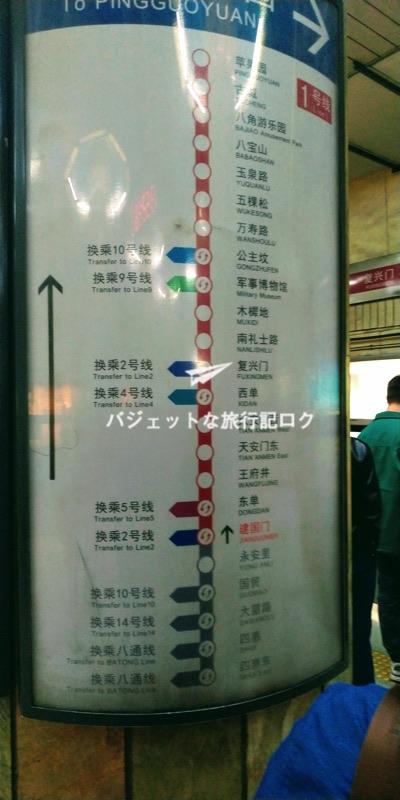 北京市内の地下鉄 路線図(1号線)