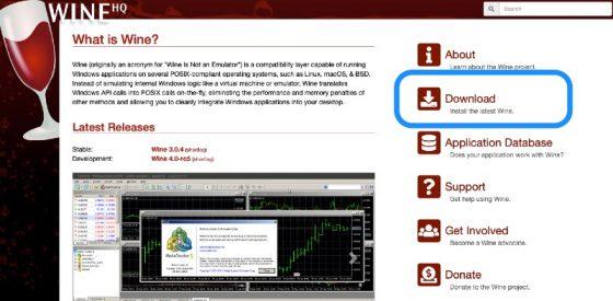 WineHQからMac用のインストーラーのダウンロード