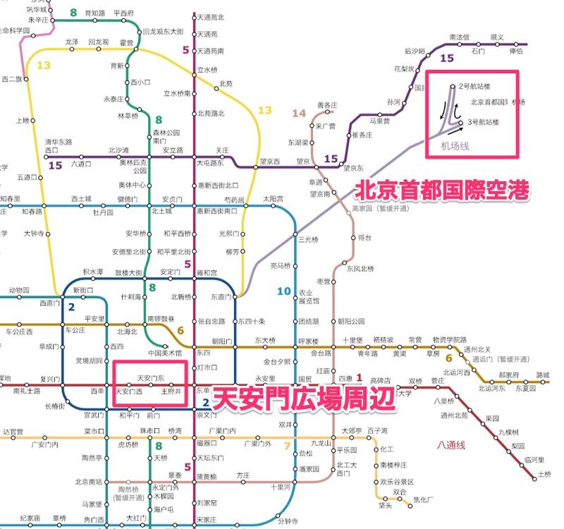 北京市内の地下鉄マップ