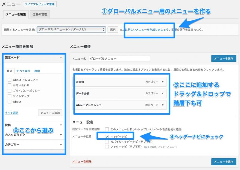Cocoonのグローバルメニュー設定