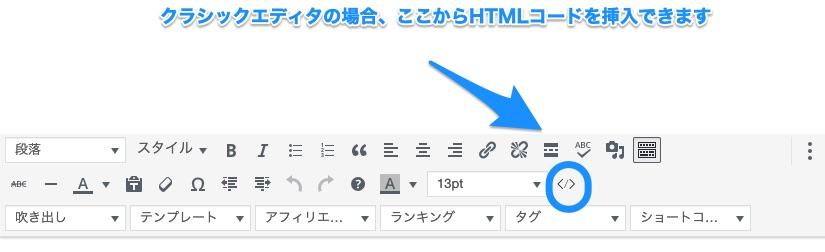 ワードプレスでのHTMLコードの挿入方法