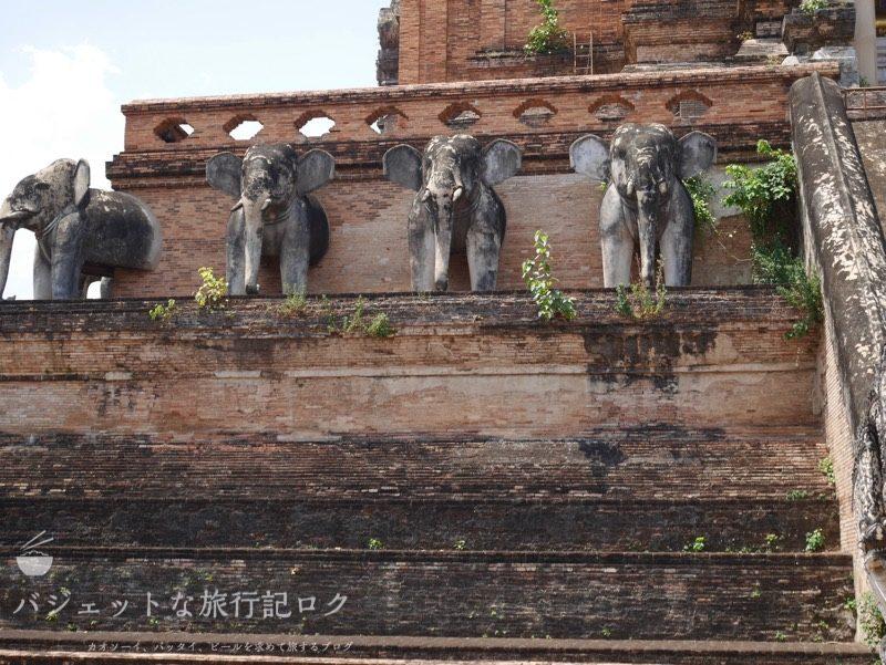 ワット・チェーディールワン(仏塔の外観、象さんたち)