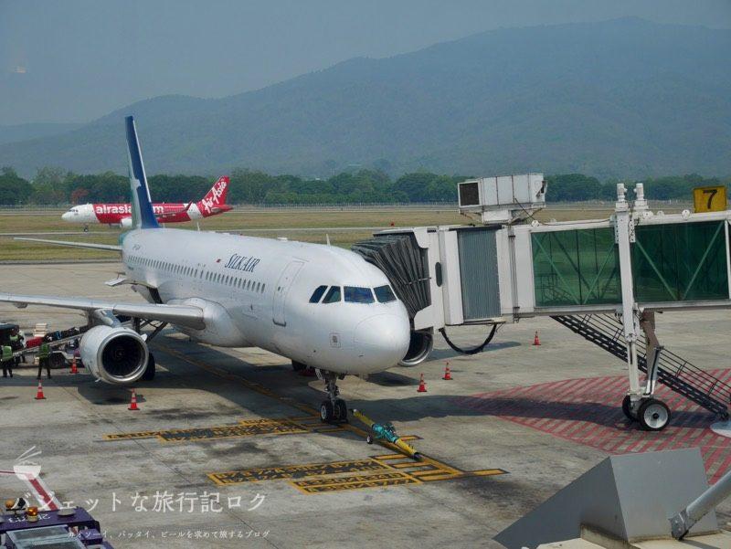 チェンマイ国際空港よりシルクエアーA320へ搭乗
