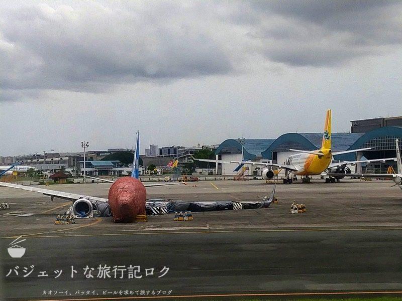 フィリピン航空A330-300ビジネスクラスの搭乗記(途中で見つけた厦門航空の残骸機体)