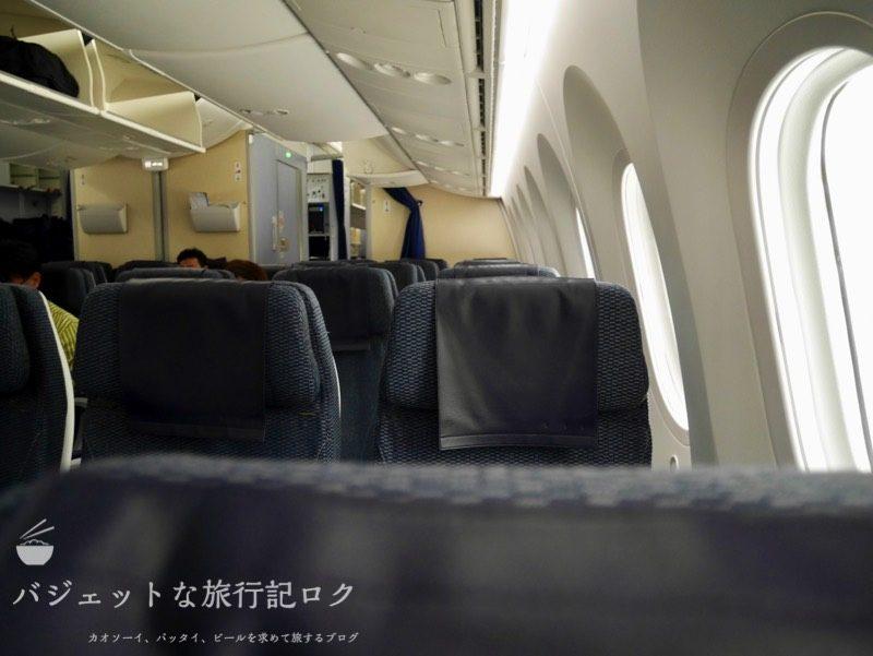 ANA搭乗機羽田からマニラ(NH869便)エコノミークラスの上品なブルーシート
