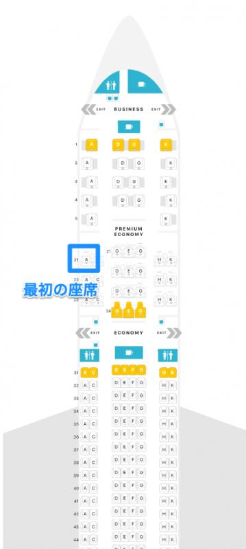 フィリピン航空より機材変更によりクラスがダウングレード、座席変更される(エアバスA330-300の座席構成)