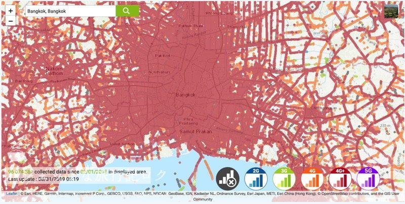 タイ・AISの人口カバー率、エリア(バンコク)