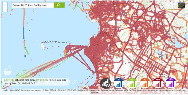 タイ・AISの人口カバー率、エリア(パタヤ)