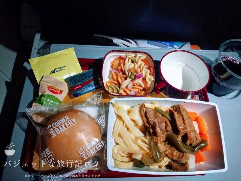フィリピン航空 マニラ・バンコク線エコノミークラス機内食(ビーフ)