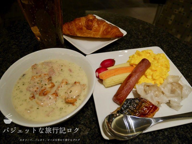 ANAはフィリピン航空のコードシェア便で使える成田空港アドミラルズクラブラウンジ(この日の食事)