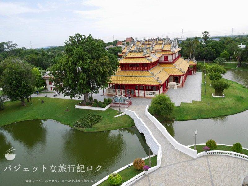 世界遺産アユタヤ観光のバーンパイン宮殿(高台の上からの風景)
