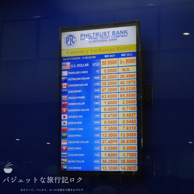 マニラ空港両替所レート比較(NAIAターミナル3到着階両替店PHILTRUST BANK)