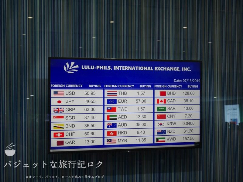 マニラ空港両替所レート比較(NAIAターミナル3到着階両替店LULU-PHILIS)