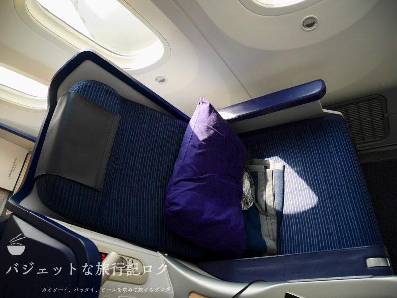 ANA B787-9スタッガード・フルフラット仕様ビジネスクラス(座席上部より)