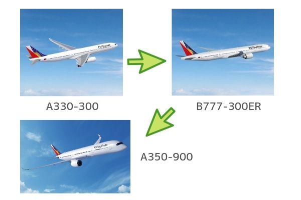 フィリピン航空A350-900へ搭乗。二転三転プレミアムエコノミー(度重なった機材変更)