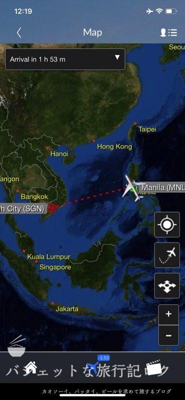 フィリピン航空 機内アプリ「myPal Player」使い方(フライト情報画面)