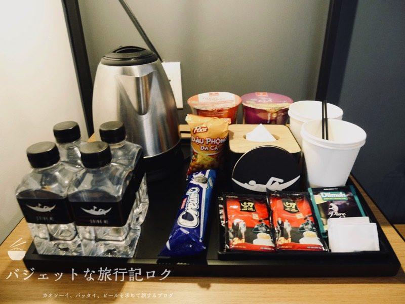 ザ・ハンモックホテルベンタン宿泊記(水、コーヒー、スナック、カップ麺)
