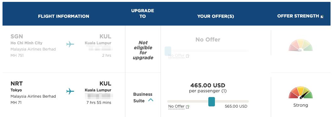 マレーシア航空のアップグレード入札「MHUpgrade」(465ドルで入札しました)