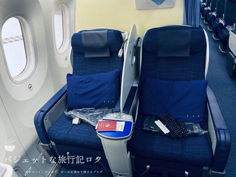 ANA787-8クレードル仕様ビジネスクラス(座席正面より)