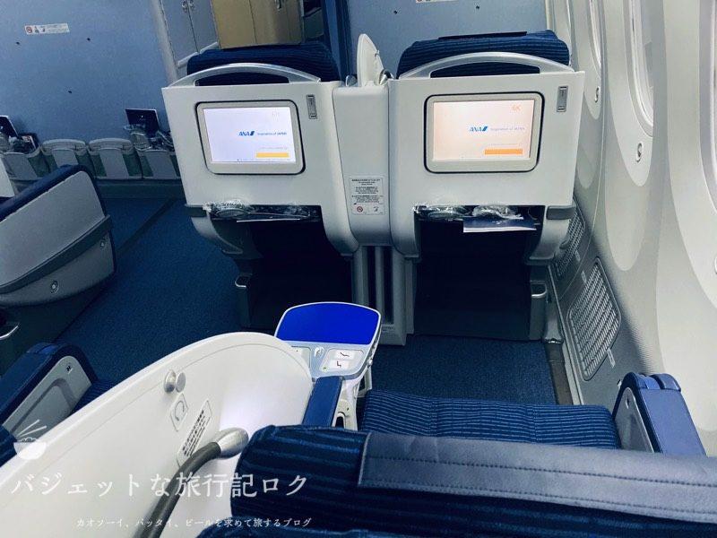 ANA787-8クレードル仕様ビジネスクラス(座席後方より)