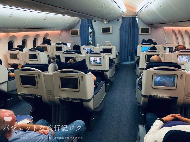 ANA787-8クレードル仕様ビジネスクラス(着陸に向けてまったりとしたビジネスクラス)