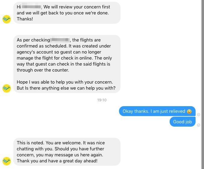 セブパシフィック航空にチャット経由で問い合わせてみた(フェイスブック経由で問い合わせてみた)
