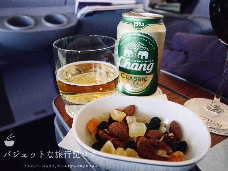 タイ国際航空ジャンボB747-400ビジネスクラス搭乗記(チャンビア とおつまみ)