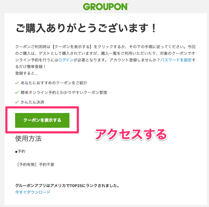 グルーポンにいきなりステーキ肉マネークーポンが登場(購入後受診するメール)
