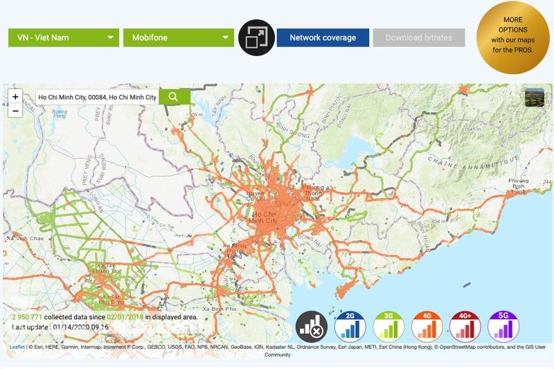 トナム「MobiFone(モビフォン)」SIM ホーチミンシティの通信カバレッジ