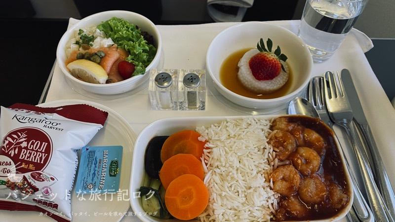 マレーシア航空B737-800/MH751搭乗記(特別食のシーフードミール)