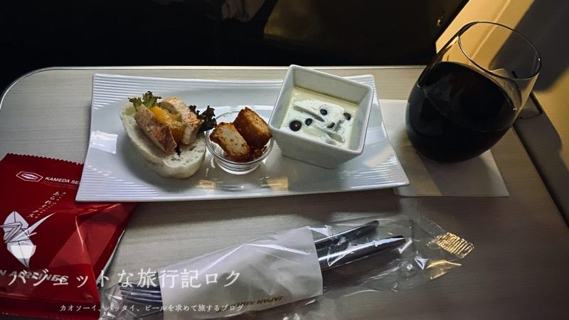 JAL深夜便B787-9フルフラットシート・ビジネスクラス搭乗記(就寝前の軽食)
