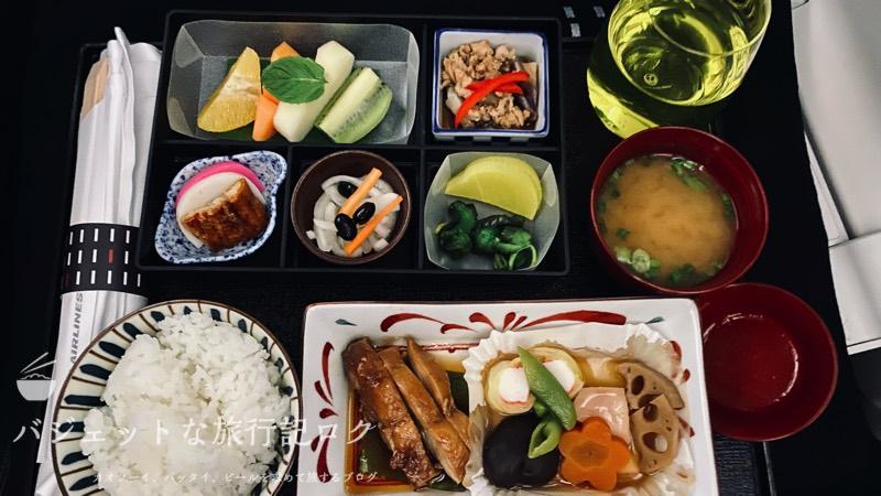 JAL深夜便B787-9フルフラットシート・ビジネスクラス搭乗記(深夜便は朝に食事が出てきます)
