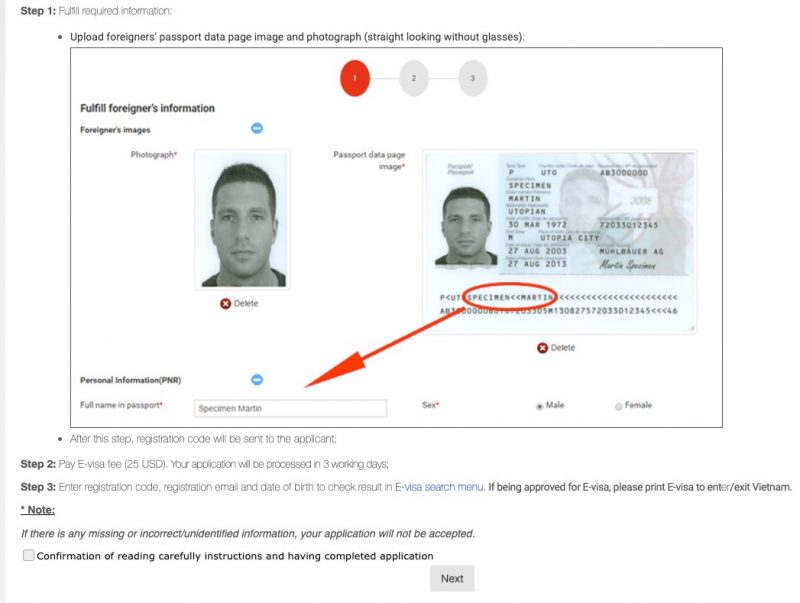 ベトナム30日以内の再入国で行った電子ビザ(E-Visa)申請(申請までの手順概要が表示される)