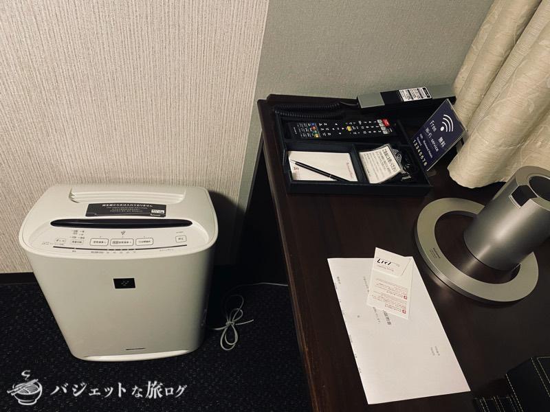 【宿泊記】リッチモンドホテル山形駅前(客室内の空気清浄機とデスクグッズ)