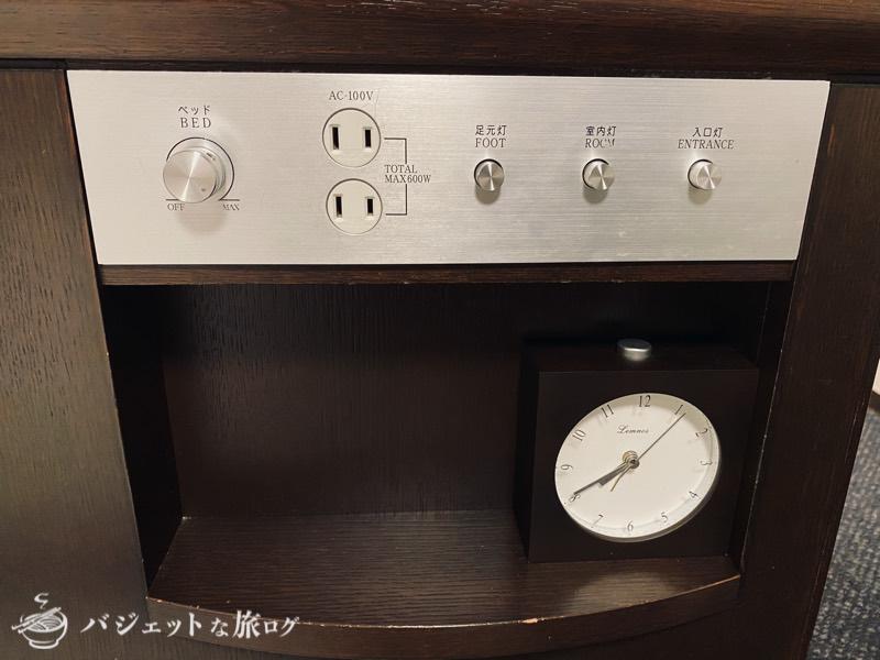 【宿泊記】リッチモンドホテル山形駅前(ベッド付近の電気関係)