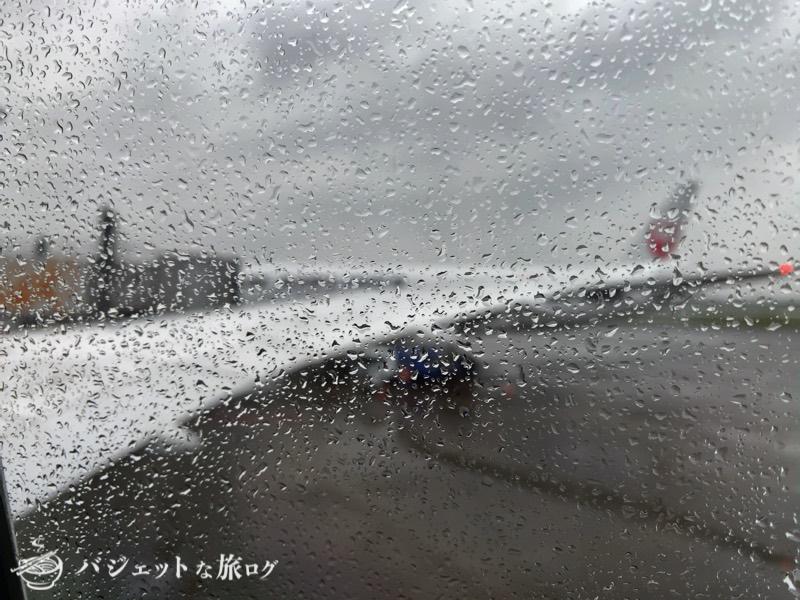 JALで羽田から伊丹へ移動(窓からの風景は雨模様)