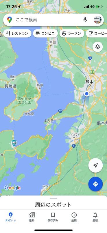 熊本駅から天草主要地へのマップ。遠かったぁ...