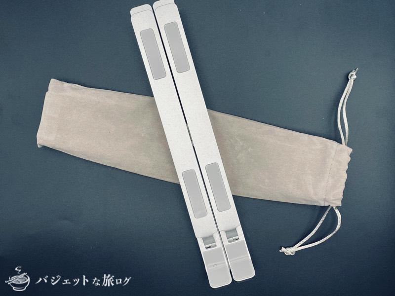 持ち運び軽量タイプの折り畳みノートPCスタンド(コンパクトに折り畳めて便利)