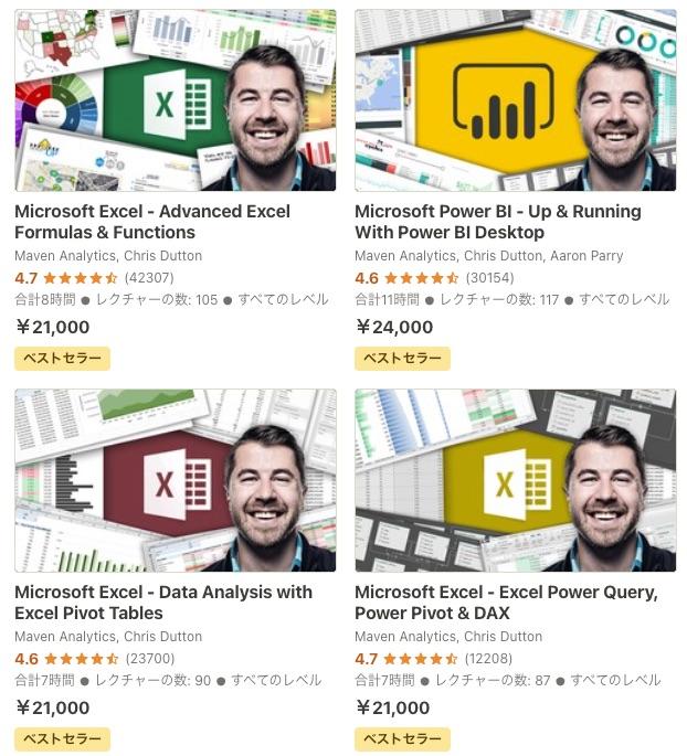 オンライン学習「Udemy」の口コミ・評判・レビュー(Excel,BIツールのベストセラーコース)